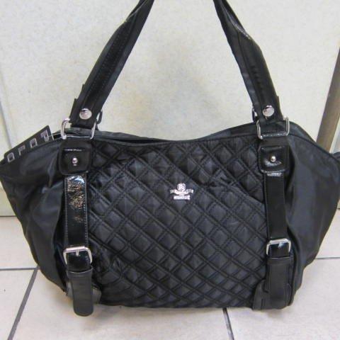 ~雪黛屋~SANDIA-POLO托特包購物袋可手提肩背功能防水尼龍布+皮革材質可放A4資料夾大容量設計E35-1002黑