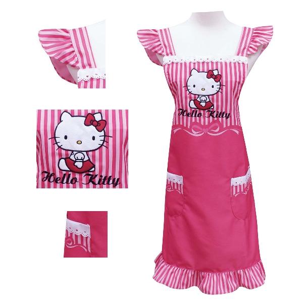 Hello Kitty桃紅色緞帶圍裙KT-0412B