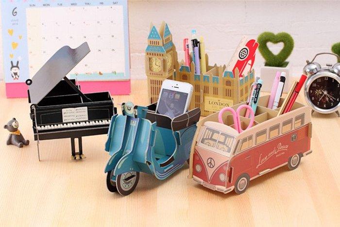 =優生活=韓國創意DIY摩托車 巴士 鋼琴 大笨鐘 公車收?盒 辦公桌收納 化妝品盒 儲物盒 桌面收?盒 筆筒