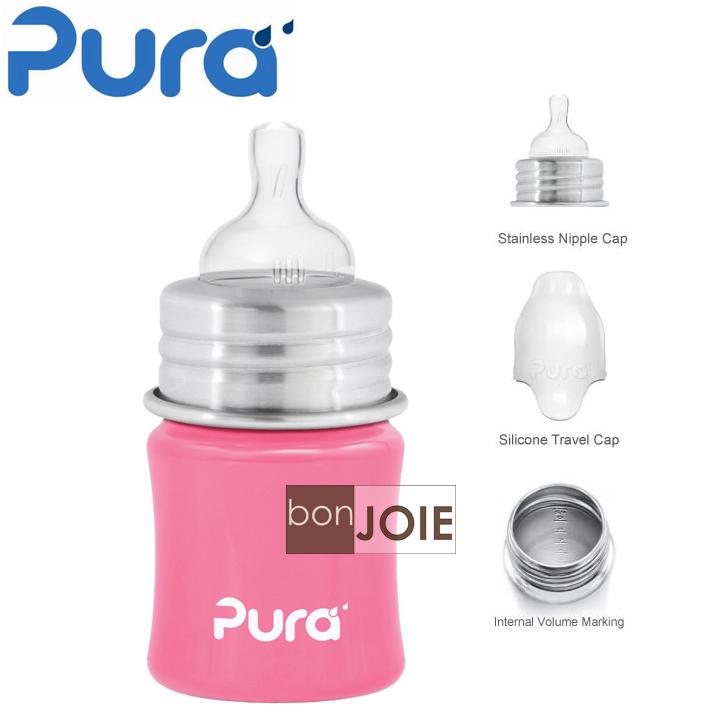 ::bonJOIE:: 美國進口 Pura kiki 寬口徑 不鏽鋼奶瓶 5oz (150ml)(粉紅色) 嬰兒奶瓶 不含雙酚A