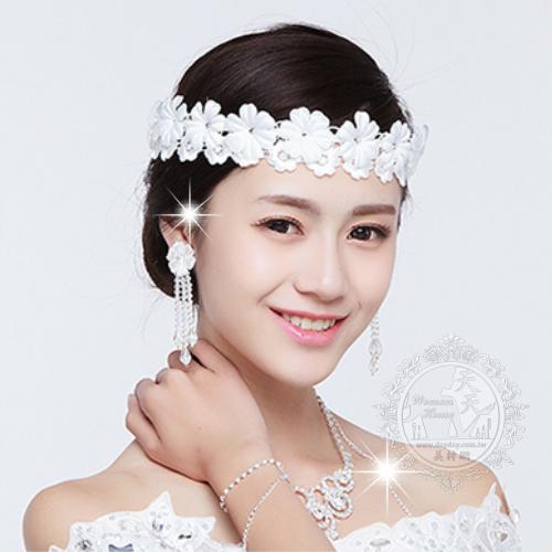 ◇新娘頭飾髮飾/新秘最愛◇法式蕾絲緞帶布花(白色)◇法式浪漫風格[51004]