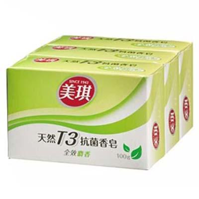 【台灣原廠製造】美琪 T3抗菌香皂全效家護全效麝香-100g(三塊裝) [47093]
