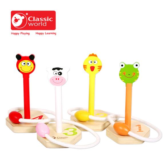 【德國 classic world】客來喜木頭玩具 木製可愛動物套圈圈 CL2376