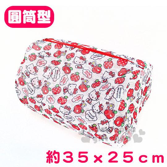 〔小禮堂〕Hello Kitty 洗衣袋《筒型.白.蘋果.多動作滿版》實用便利