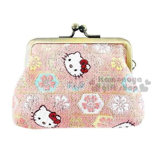 〔小禮堂〕Hello Kitty 日製口金零錢包《小.粉.大臉.櫻花滿版》濃濃日系和風