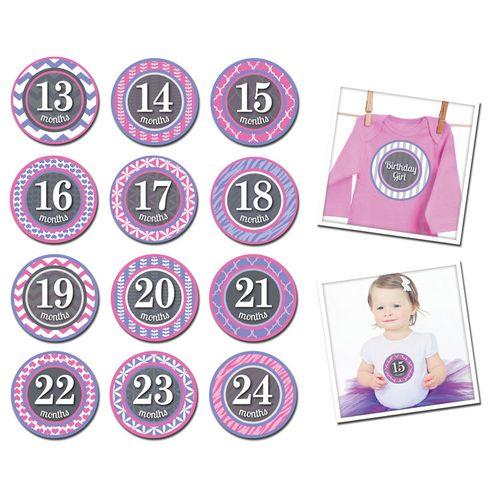 ★衛立兒生活館★美國Sticky Bellies 寶寶月份貼紙13-24M(小小公主)