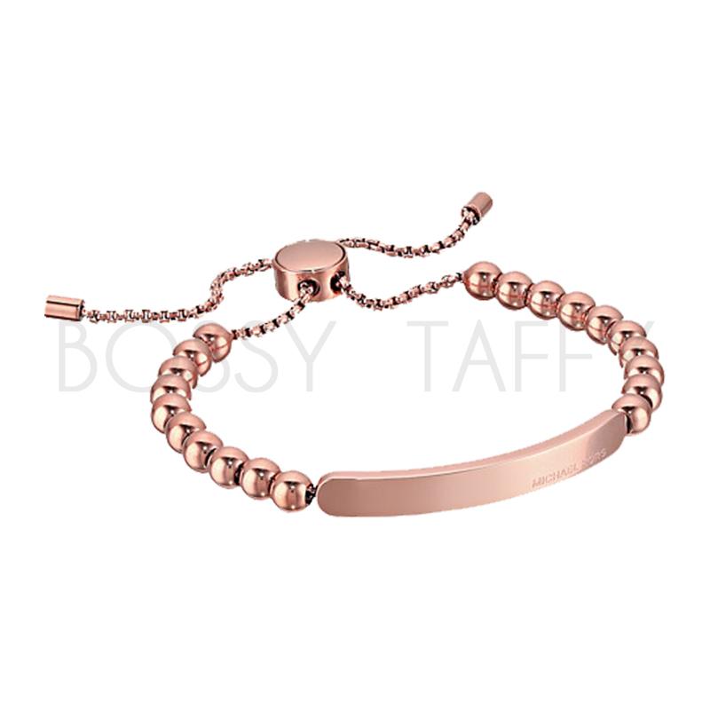 MICHAEL KORS 玫瑰金串珠可調式金屬板手鍊 Rose Gold Beaded Logo Plate Slider Bracelet RoseGold