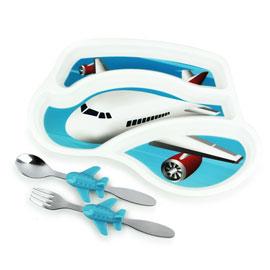 【美國KIDSFUNWARES】造型兒童餐盤組-飛機 ㊣原廠授權總代理公司貨
