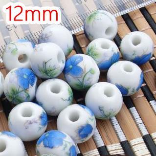 (每包5顆) 中國風復古牡丹花 陶瓷珠12mm 手鍊項鍊耳環小天燈香包吊飾材料配件