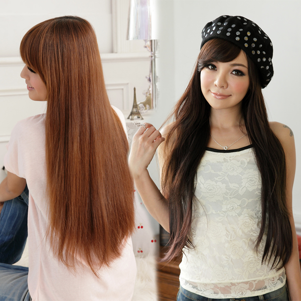 PS Mall 一片式半頂五扣 氣質長直髮片假髮 高溫髮絲 可電棒燙【P031】