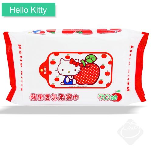 Hello Kitty蘋果香氛柔濕巾70抽/濕紙巾/無螢光劑╭。☆║.Omo Omo go物趣.║☆。╮