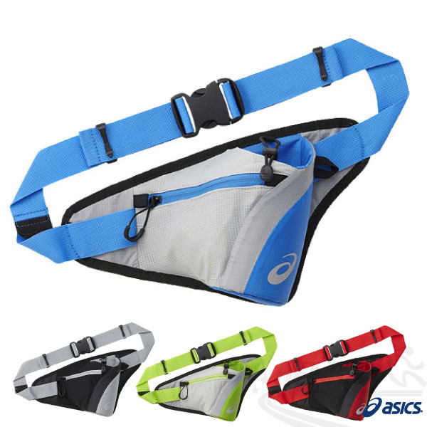 ASICS亞瑟士 慢跑水壺腰包(銀灰*藍) 慢跑單車皆適用 2015新品