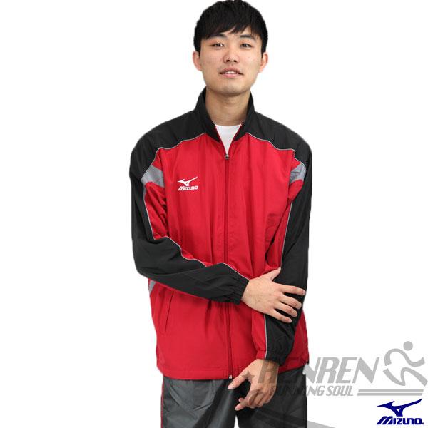 MIZUNO 美津濃 平織運動外套(紅*黑) 網布內裡 風衣外套