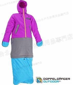 零碼特價/營舞者/Doppelganger/露營用品/穿著睡三件式睡袋 外套/大衣/睡袋 S1-81藍紫