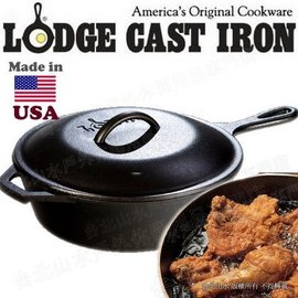 Lodge 附蓋深型鑄鐵煎鍋/26cm2.8升 鑄鐵鍋/荷蘭鍋/油炸鍋/炸雞平底鍋 L8CF3 Chicken Fryer 美國製
