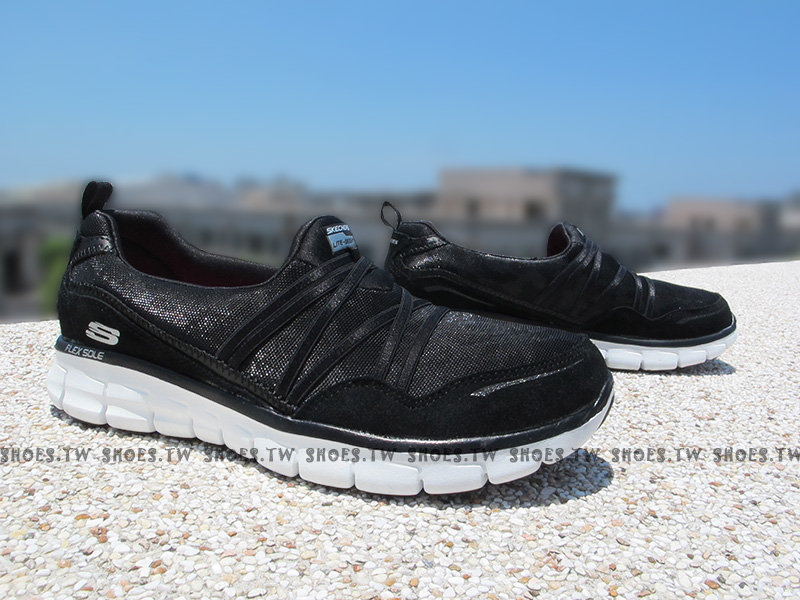 Shoestw【11962BKW】SKECHERS 健走鞋 記憶泡棉鞋墊 黑色 豹紋 柔軟