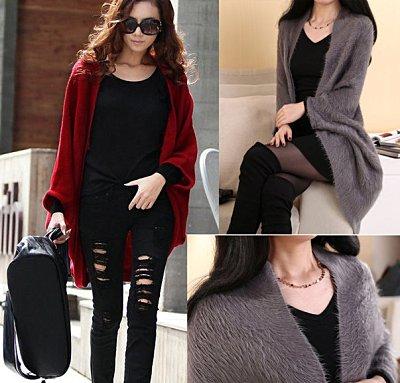 滿700再折$100 韓版羊絨寬鬆蝙蝠袖長版針織毛衣外套[4色] - 御聖願