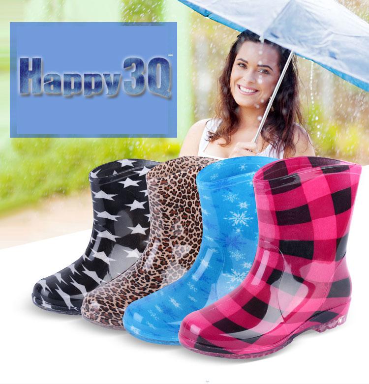 歐美時尚多款花色防滑短筒雨靴-黑/藍/咖/紅36-40【AAA0118】