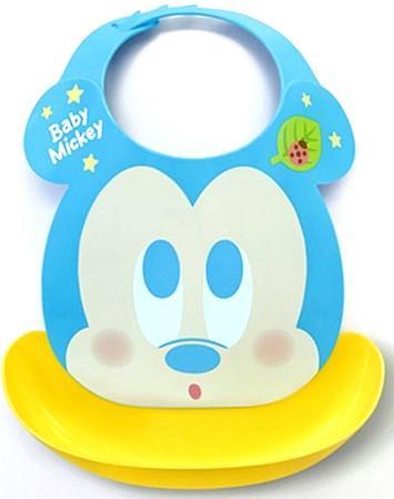 日本原裝 嬰幼兒軟式立體圍兜兜/迪士尼/米奇/藍