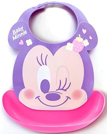日本原裝 嬰幼兒軟式立體圍兜兜/迪士尼/米妮/紫