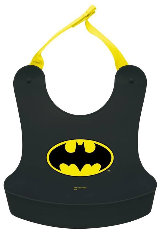 日本原裝 嬰幼兒軟式立體圍兜兜/蝙蝠俠/黑