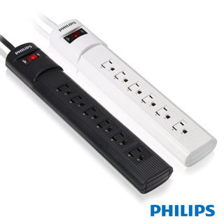 {光華新天地創意電子}PHILIPS 飛利浦 SPB1063 兒童保護型1開6插3孔插頭延長線(白2.7米) 喔!看呢來