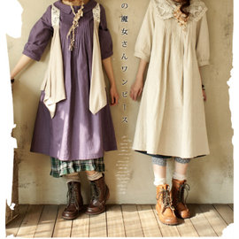 滿700再折$100 [亞麻 繪本]森林系日系亞麻原色兩面穿連身洋裝日本官網暢銷款 - 御聖願