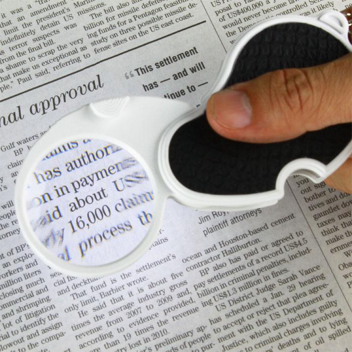 (免運費) 菜單 標籤閱讀 出外使用 超亮LED 4x/45mm 攜帶型LED燈放大鏡 附鑰匙圈 【N170】