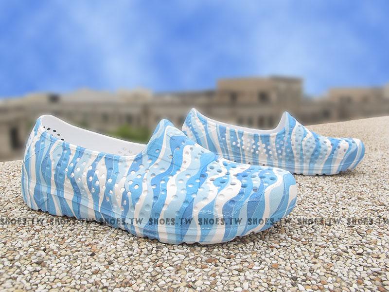 《限時特價79折》Shoestw【62U1SA66PB】PONY TROPIC 水鞋 軟Q 防水 懶人鞋洞洞鞋 藍雲彩 女生 親子