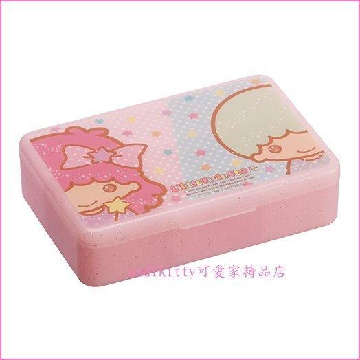 asdfkitty可愛家☆雙子星粉紅長方形收納盒/置物盒/隨身藥盒-內有4格-日本正版商品