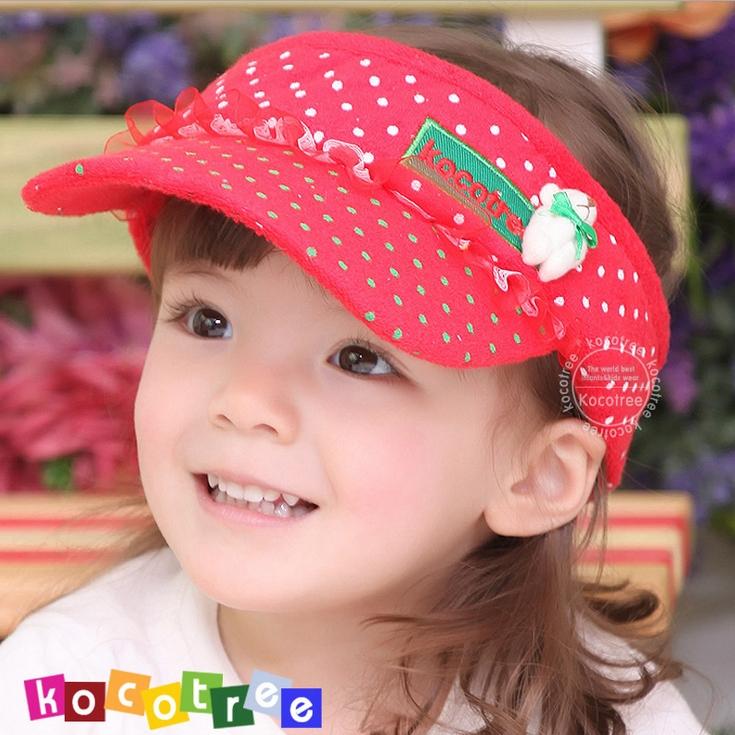 WallFree窩自在★時尚可愛蕾絲小熊字母點點兒童遮陽帽空頂帽