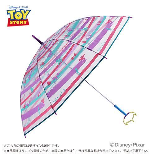 『日本代購品』粉彩條紋三眼怪款 日本 迪士尼 三眼怪鏤空造型把手 透明直傘 雨傘