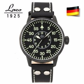 德國原裝進口 Laco 朗坤 861760N 德國空軍 夜光防水皮帶自動機械錶