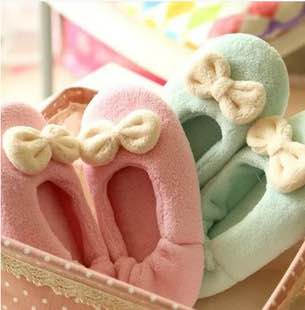 =優生活=軟綿綿清新綠 蝴蝶結舒適家居鞋 保暖拖 室內拖鞋 月子鞋 包跟鞋