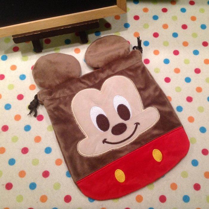 =優生活=迪士尼 米奇 米妮刺繡束口袋 收納袋 相機包 拍得利包 雜物包