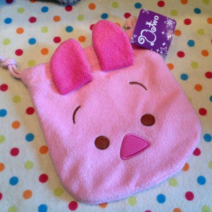 =優生活=迪士尼 tsum tsum 小豬 粉紅豬 維尼系列毛絨刺繡束口袋 拉繩袋 拍立得收納包 化妝包 雜物包