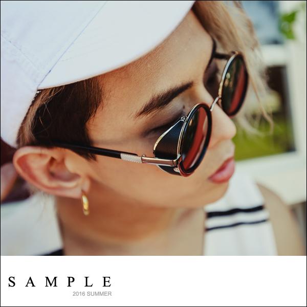 墨鏡 正圓 金屬感反光側邊擋風太陽眼鏡【TS16824】- SAMPLE