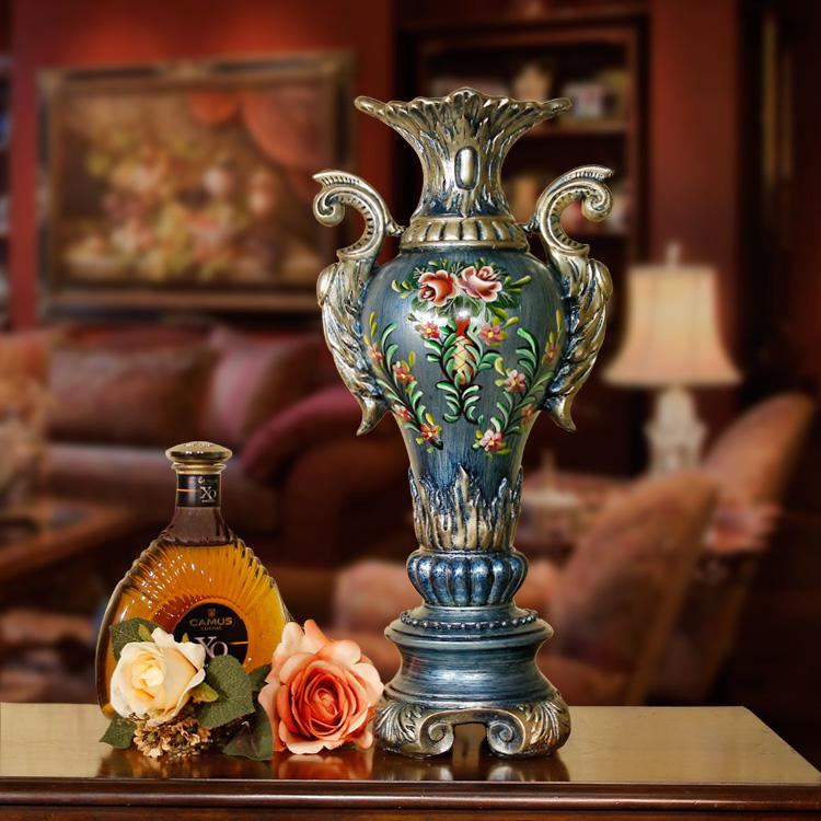 精緻??-手繪歐式花器客廳擺件復古花瓶裝飾花器十天預購+現貨