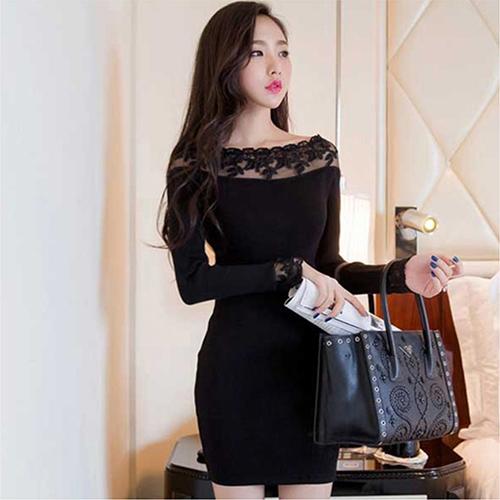 全店65折滿$599免運 蕾絲一字領針織彈力包臀連身裙 (黑色,S~L) - ORead 自由風格
