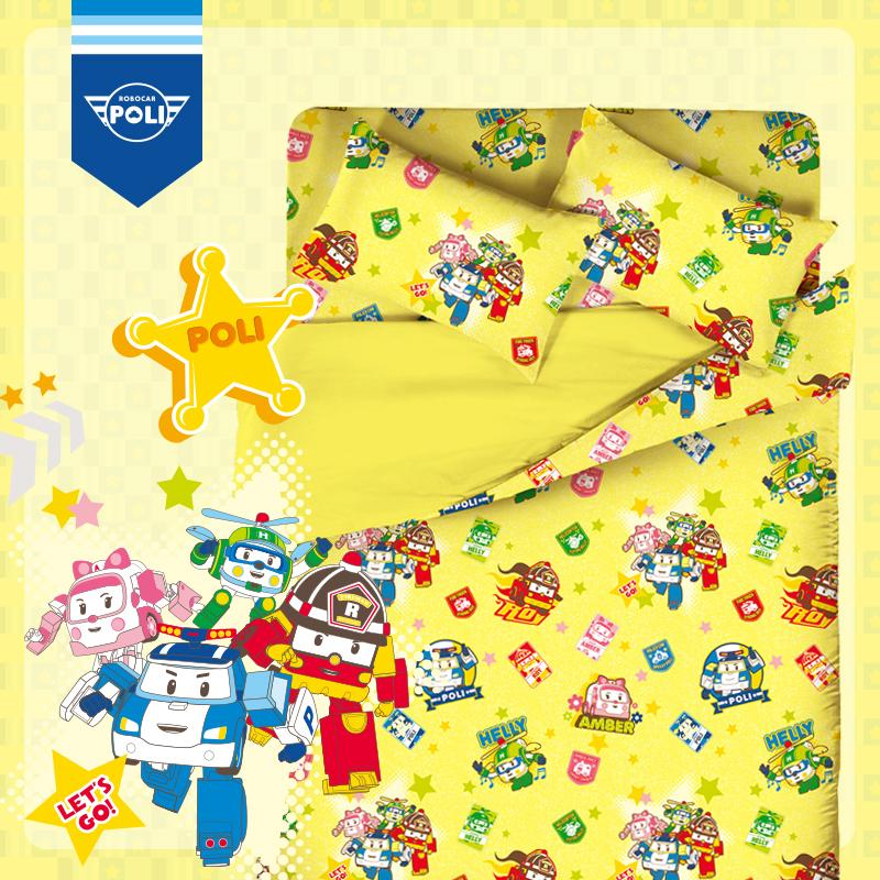 床包被套組 / 雙人加大【波力救援小英雄-黃】含兩件枕套,磨毛多工法處理,戀家小舖台灣製