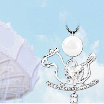 鑲鑽項鍊毛衣鍊-可愛甜美木馬造型女飾品2色73fv193【獨家進口】【米蘭精品】