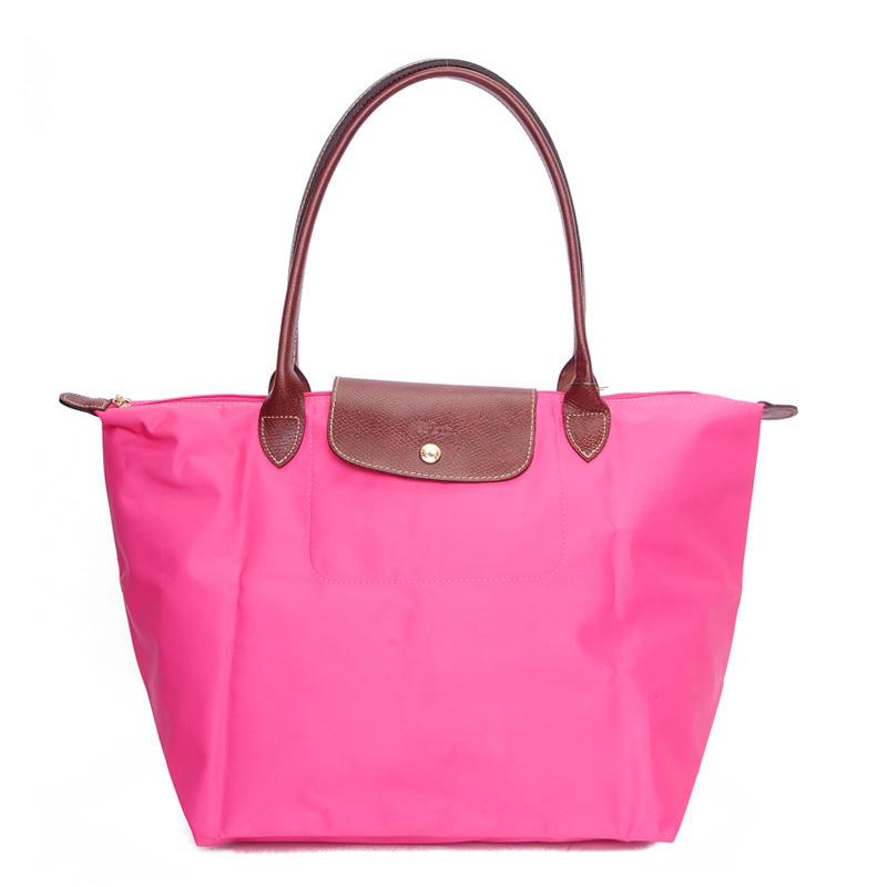 [長柄M號]國外Outlet代購正品 法國巴黎 Longchamp [1899-M號] 長柄 購物袋防水尼龍手提肩背水餃包 粉紅色