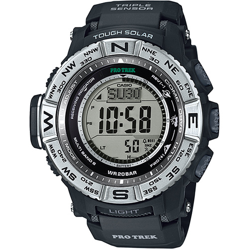 CASIO PRO TREK 登山錶 PRW-3500-1DR三大感應器電波專業登山腕錶/白面53.4mm