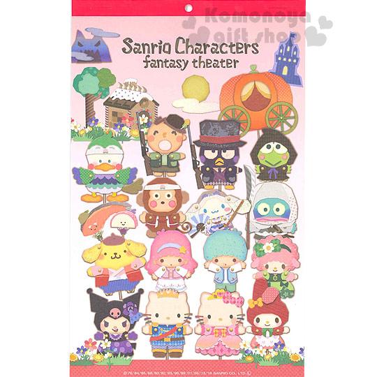〔小禮堂〕Sanrio大集合 2017日製壁掛月曆《長方型.粉漸層.多角色.皮影戲》