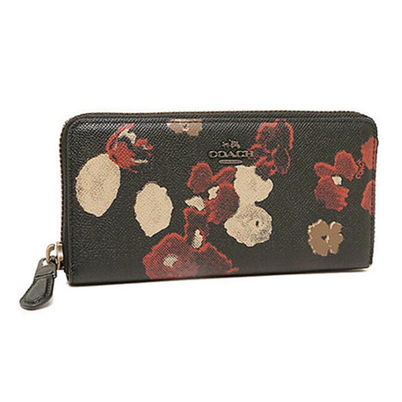 COACH長夾52426美國FACTORY花卉系列女士真皮印花手拿包拉鍊錢包