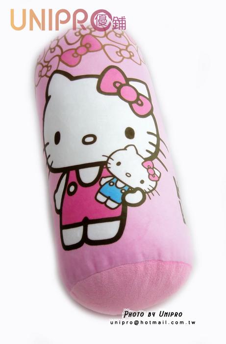 【UNIPRO】Hello Kitty Q版 圓柱枕 圓筒抱枕 長型 靠枕 圓枕 午安枕 凱蒂貓 三麗鷗授權