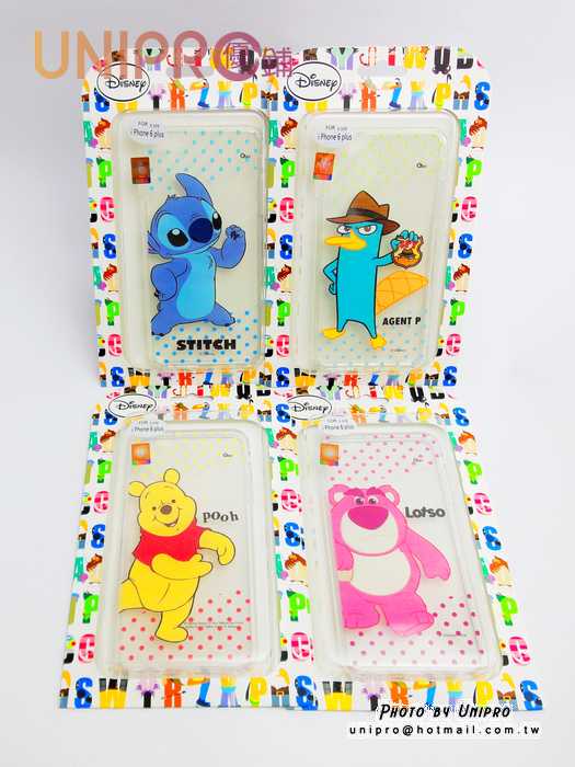 【UNIPRO】iPhone 6 plus 5.5吋 迪士尼卡通 史迪奇熊抱哥 小熊維尼 泰瑞哥 透明 TPU 手機殼 保護套