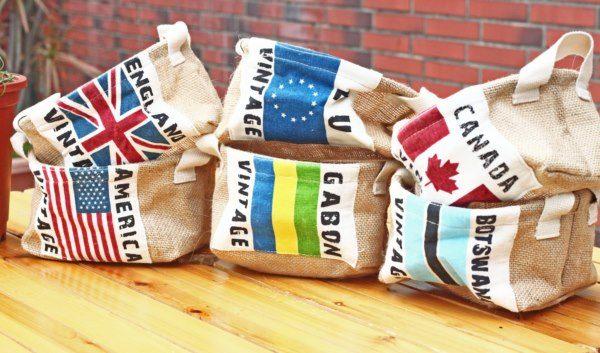 UNIPRO 日雜風 英國 美國 加拿大 等 國旗棉麻收納袋 小物收納 糖果籃 文具籃 現貨 18X12X10.5cm