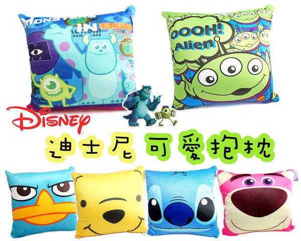 UNIPRO 迪士尼 雙色 抱枕 方枕 45X45cm 怪獸大學 三眼怪 史迪奇 泰瑞鴨 小熊維尼