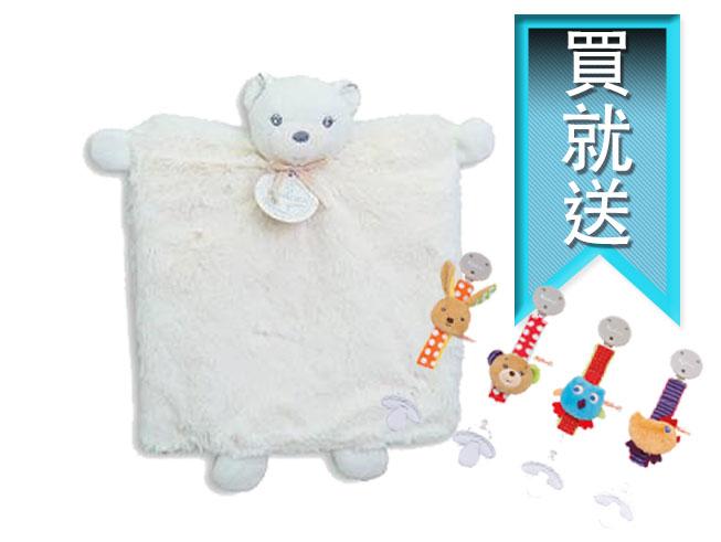 《★法國Kaloo 買就送Kaloo造型奶嘴練》熊熊造型兩用手偶安撫巾 原廠精美禮盒包裝 美國代購 平行輸入 溫媽媽 奶油色